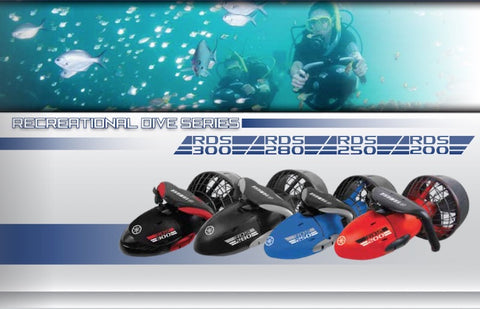 Yamaha Recreational Dive Series Sea Scooters for Sale are featured.  This includes the Yamaha RDS300 Sea Scooter, Yamaha RDS280 Sea Scooter, Yamaha RDS250 Sea Scooter, and Yamaha RDS200 Sea Scooter.  There is an image of all 4 together with an image above that of a Yamaha RDS Sea Scooter in use.