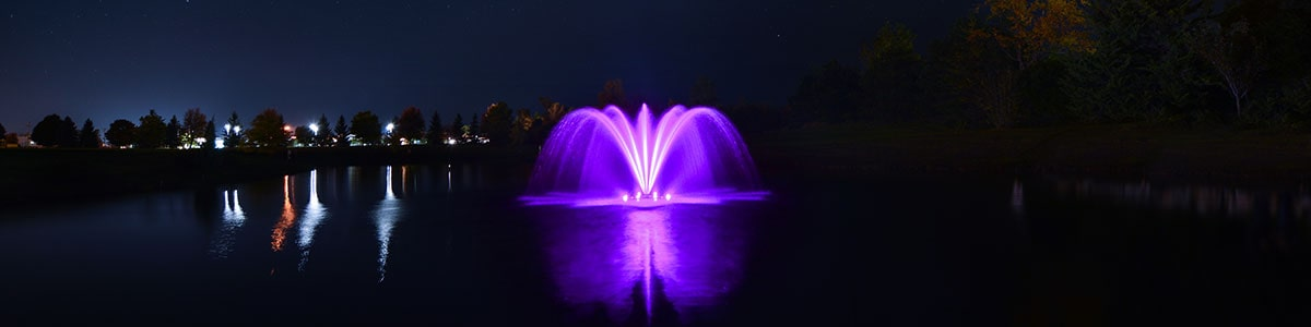 Airmax RGBW LED Color Changing Light Set.  Shown here with purple lighting on the fountain at night.