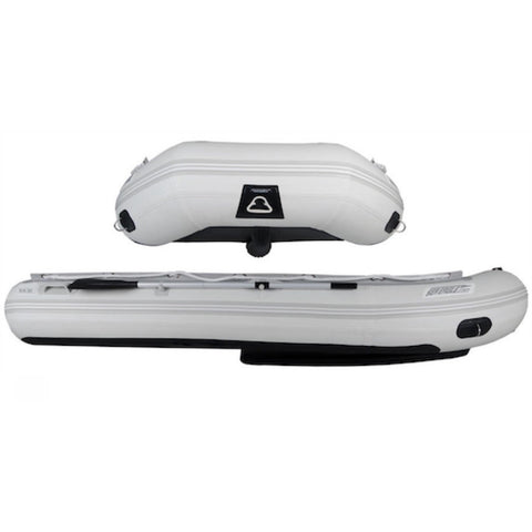 "Sea Eagle 12'6"" Sport Runabout Inflatable Boat front view and side view."