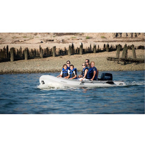 "Sea Eagle 12'6"" Sport Runabout Inflatable Boat on the water motor mount"