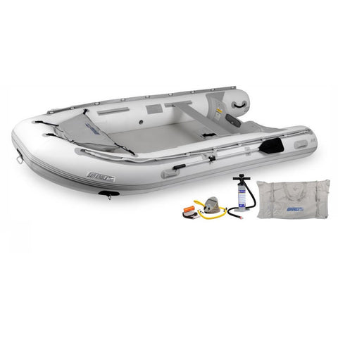 "Sea Eagle 12'6"" Sport Runabout Inflatable Boat - White inflatable boat with gray accent.  Top right front view with carry bag and air pumps below the high quality inflatable boat."
