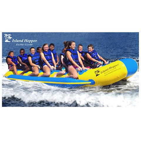 Yellow and blue Island Hopper 12 Person Towable Banana Boat Taxi close up view of the 12 man banana boat being pulled across the water full of 12 people.