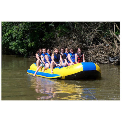 Island Hopper 12 Person Towable Banana Boat front view, on a river