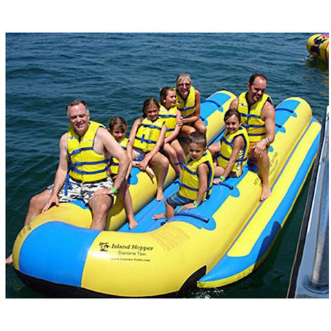 Island Hopper 12 Person Towable Banana Boat Taxi front view of passengers sitting on the 12 man banana boat taxi being boat ready to go out to sea.