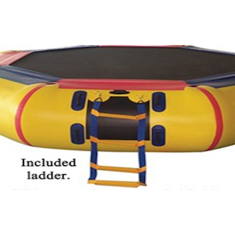 Close up view of the included ladder for the yellow Island Hopper 13' Bounce N Splash Inflatable Water Bouncer