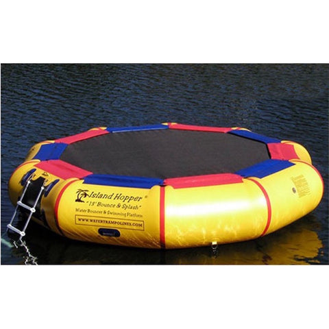Top view of the Island Hopper 13' Bounce N Splash Inflatable Water Bouncer sitting in the calm water, with ladder visible on side of the yellow inner tube.