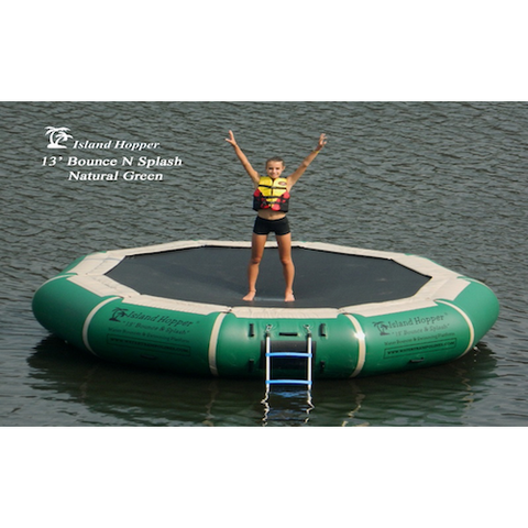 Island Hopper 13' Bounce N Splash Water Bouncer Green on the water with 1 bouncer
