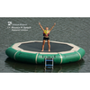 Image of Hunter Green Island Hopper 13' Bounce N Splash Inflatable Water Bouncer in the lake with 1 kid standing on the black bouncer surface.
