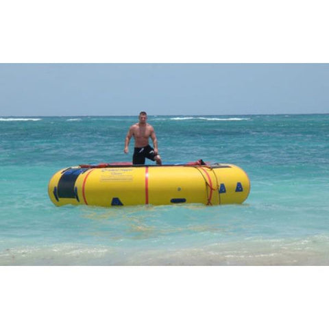 Island Hopper 15' Classic Water Trampoline on the ocean with a man jumping on the inflatable water trampoline.