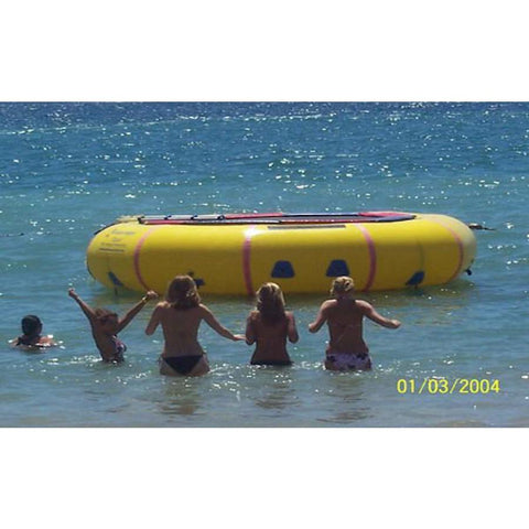 Island Hopper 15' Classic Water Trampoline in the ocean with 5 women approaching the inflatable water trampoline.