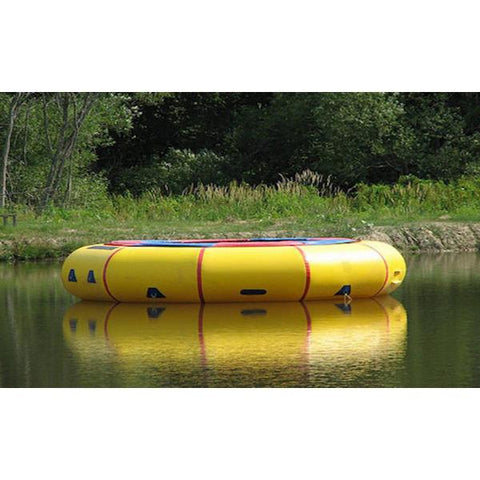 Island Hopper 15' Classic Water Trampoline side view of the yellow 15ft water trampoline on the lake.