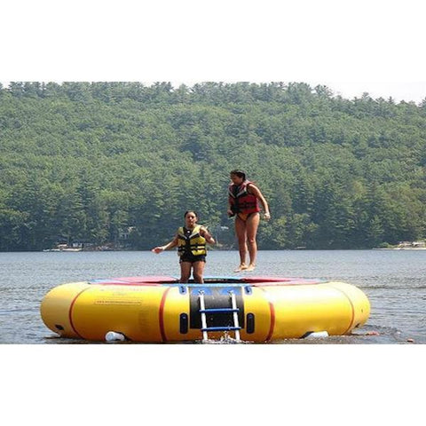 Island Hopper 15ft Classic Water Trampoline on the lake with 2 girls jumping on the yellow water trampoline.