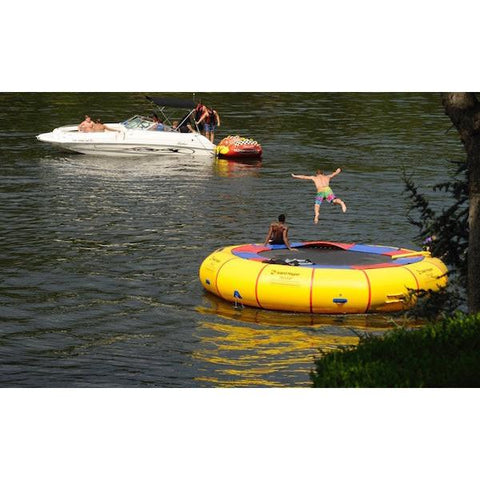 Island Hopper 20' Acrobat Water Trampoline diving into the lake of the floating water trampoline