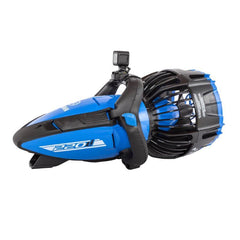 Yamaha 220Li Seascooter features a dark royal blue design with black accents.  The handle and propeller cage are black along with a stripe down the side and a small mounted camera on the handle.  The 220Li Seascooter logo is on the side.