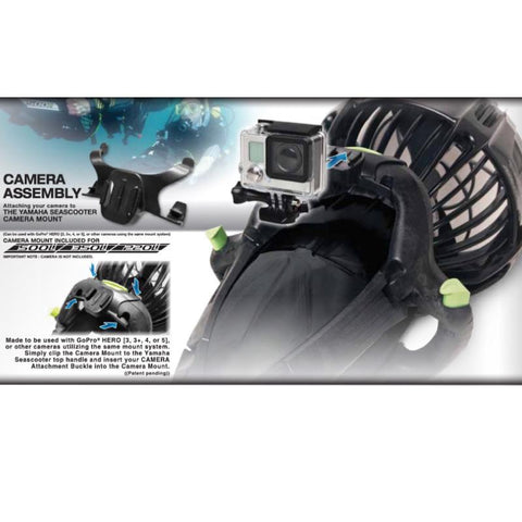 Details for how to mount a GoPro camera onto a Yamaha Professional Dive Series Sea Scooter.  Yamaha Under Water Scooters are pictured showing different angles of the mount.