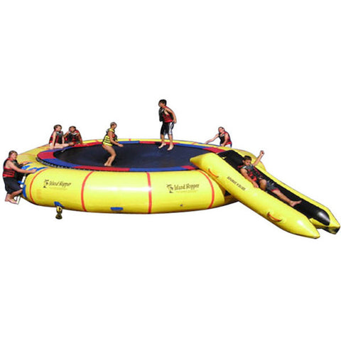 Kids playing on the Island Hopper 25' Giant Jump Water Trampoline on a white background.
