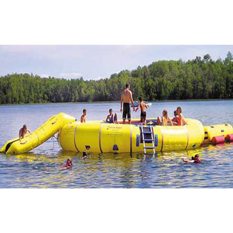 Island Hopper 25' Giant Jump Water Trampoline being played on by several young kids on the lake with water slide and aqua log attachments.  Yellow water trampoline and yellow water trampoline attachments.