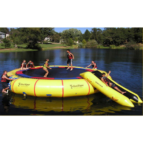Island Hopper 25' Giant Jump Water Trampoline on the lake being played on by several young kids.