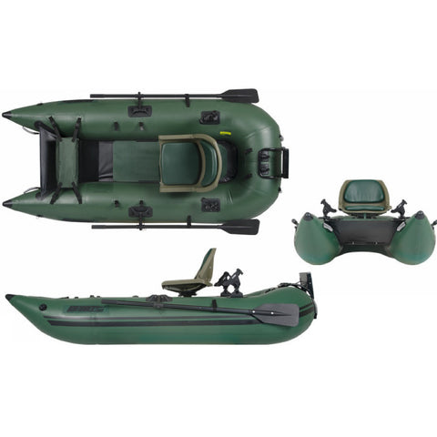 Sea Eagle 285 Frameless Inflatable Fishing Boat top, front, and side views of the hunter green inflatable fishing boat.