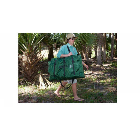 Sea Eagle 285 Frameless Inflatable Fishing Boat green carry bag over the shoulder of a gentleman.