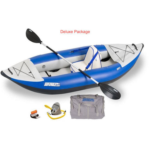 Sea Eagle Explorer 300X Solo Inflatable Kayak Deluxe package top and side display view with the bag and pump sitting next to the Sea Eagle inflatable kayak.