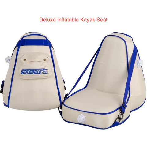 Sea Eagle Explorer 300X Solo Inflatable Kayak seats. Grey/White with Blue accents.