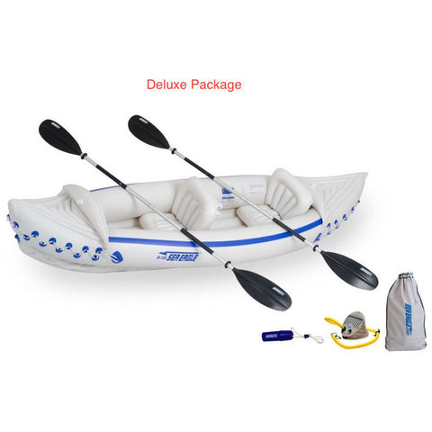 Sea Eagle 330 Sport Inflatable Kayak top view with the bag and pump sitting next to the Sea Eagle inflatable boat.