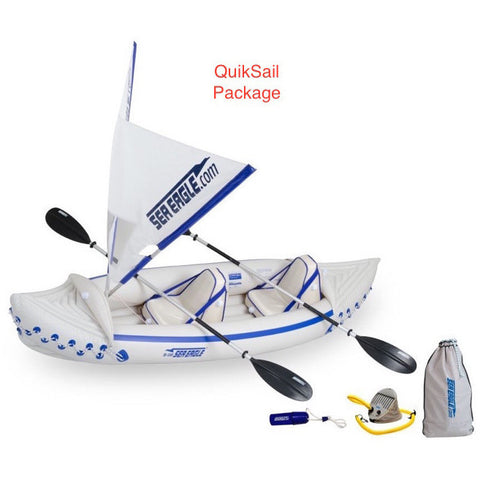 QuikSail Rig on the Sea Eagle 330 Sport Inflatable Kayak top view with the bag and pump sitting next to the Sea Eagle inflatable boat.