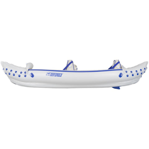 White Sea Eagle 330 Sport Inflatable Kayak with blue lettering and highlights, side view.