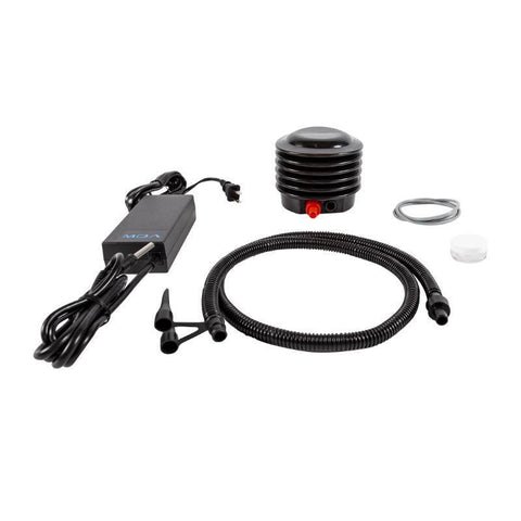 Accessories for the Yamaha 350Li Sea Scooter.  All are black and there is a charger, fan cap, and air tube.