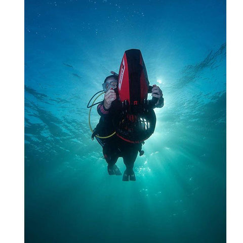 Underview of the Yamaha 350Li Sea Scooter underwater and in use.
