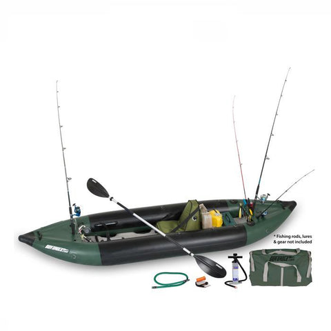 Sea Eagle 350fx Inflatable Fishing Kayak top view with the bag and pump sitting next to the Sea Eagle inflatable kayak.