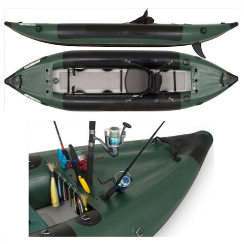 Sea Eagle 350fx Inflatable Fishing Kayak top, view, side view, and front nose close up.