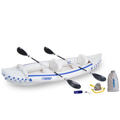 Sea Eagle 370 Sport Inflatable Kayak top view with the bag and pump sitting next to the Sea Eagle inflatable kayak.