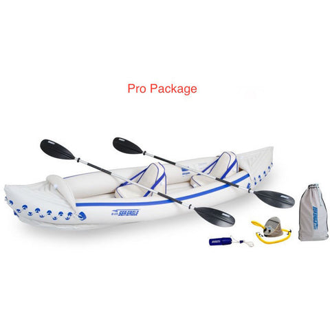 Sea Eagle 370 Sport Inflatable Kayak pro package top view with the bag and pump sitting next to the Sea Eagle inflatable boat.