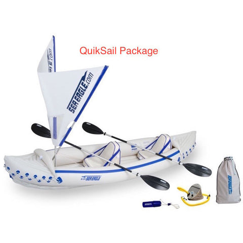 Sea Eagle 370 Sport Inflatable Kayak QuikSail top view with the bag and pump sitting next to the Sea Eagle inflatable boat.