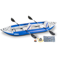 Sea Eagle Explorer 380X Inflatable Tandem Kayak top and side display view with the bag and pump sitting next to the Sea Eagle inflatable kayak. Blue hull with grey highlights.