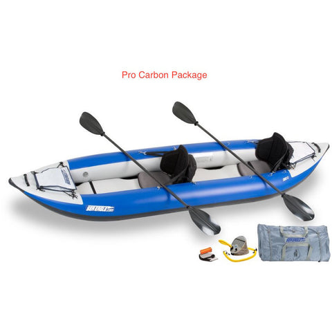 Sea Eagle Explorer 380X Inflatable Kayak Pro Carbon Package top and side display view with the bag and pump sitting next to the Sea Eagle inflatable kayak.