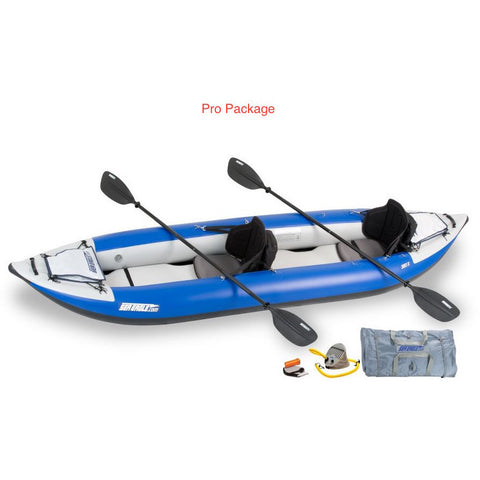 Sea Eagle Explorer 380X Inflatable Tandem Kayak Pro Package top and side display view with the bag and pump sitting next to the Sea Eagle inflatable kayak.