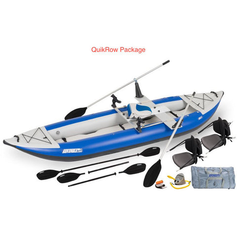 Sea Eagle Explorer 380X Inflatable Tandem Kayak QuikRow package top and side display view with the bag and pump sitting next to the Sea Eagle inflatable kayak.