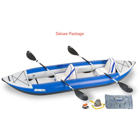 Sea Eagle Explorer 380X Inflatable Tandem Kayak Deluxe package top and side display view with the bag and pump sitting next to the Sea Eagle inflatable kayak.