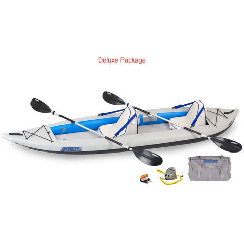 Sea Eagle FastTrack 385FT Tandem Inflatable Kayak Deluxe package top and side display view with the bag and pump sitting next to the Sea Eagle inflatable kayak.
