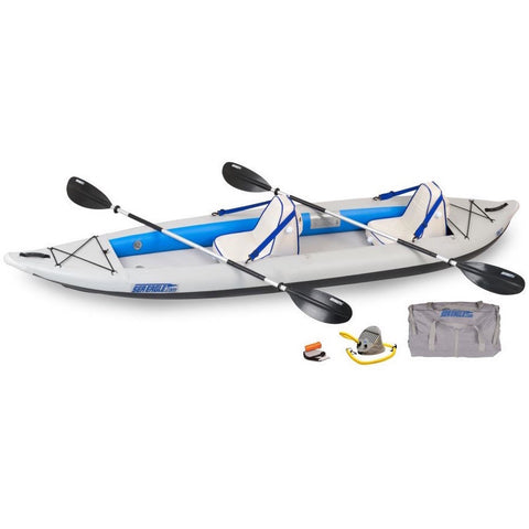 Sea Eagle FastTrack 385FT Tandem Inflatable Kayak top and side display view with the bag and pump sitting next to the Sea Eagle inflatable kayak.
