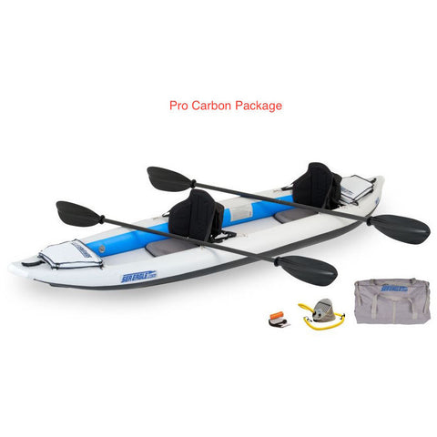 Sea Eagle FastTrack 385FT Tandem Inflatable Kayak Pro Carbon Package top and side display view with the bag and pump sitting next to the Sea Eagle inflatable kayak.