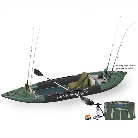 Sea Eagle 385fta FastTrack Angler Inflatable Kayak Deluxe Package Hunter Green with black accents. Top and side display view with the bag and pump sitting next to the Sea Eagle inflatable kayak.