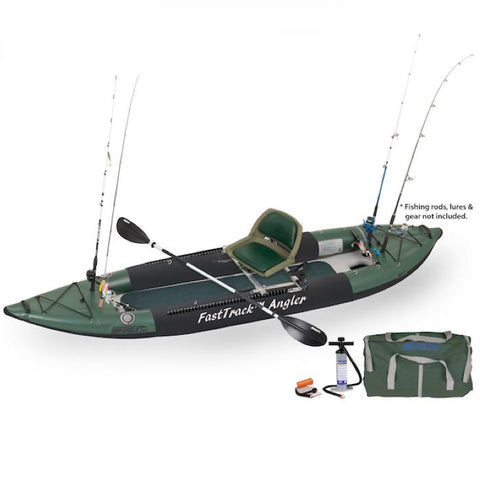 Sea Eagle 385fta FastTrack Angler Inflatable Fishing Kayak Hunter Green with black accents. Top and side display view with the carry bag and air pump sitting next to the Sea Eagle inflatable kayak.