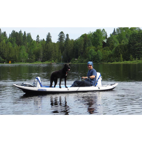 Sea Eagle FastTrack 385FT Tandem Inflatable Kayak on the lake with the dog.
