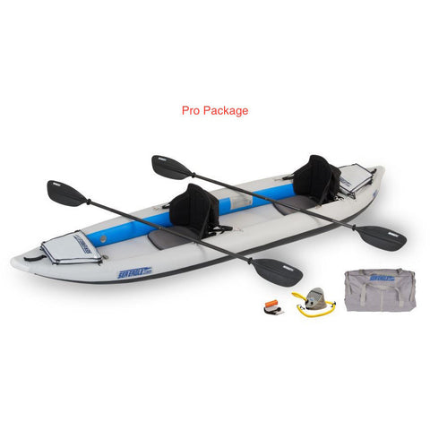 Sea Eagle FastTrack 385FT Tandem Inflatable Kayak Pro Package top and side display view with the bag and pump sitting next to the Sea Eagle inflatable kayak.