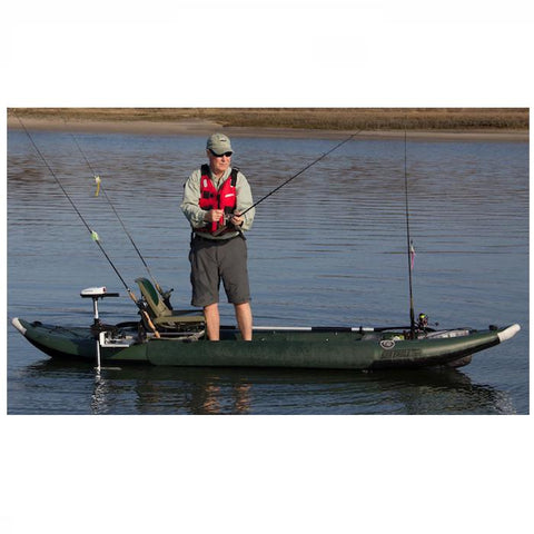 Sea Eagle 385fta FastTrack Angler Inflatable Kayak - 1 person fishing Kayak on the water, standing up reeling in fish -  Sea Eagle - Splashy McFun Watersports