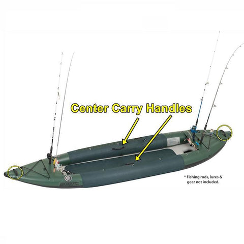 Sea Eagle 385fta FastTrack Angler Inflatable Kayak top and side display showing the featured carry handles.